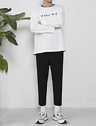 Masculino Simples Cintura Média Com Elástico Chinos Calças,Solto Cor Única