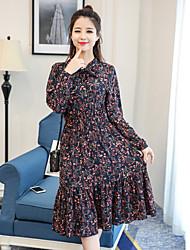 2017 nouvelles femmes du sud du Coréen&Jupe en mousseline de soie florale coupe longue section robe de taille plissée