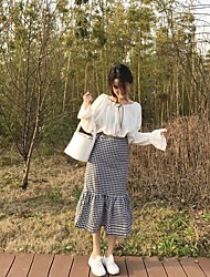 Women's High Rise Going out Casual/Daily Midi Skirts A Line Check Spring Summer
