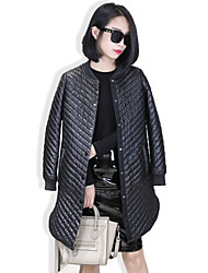 Women's Casual/Daily Simple Spring Fur Coat,Solid Round Neck Long Sleeve Long Lambskin