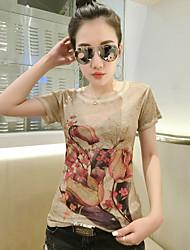 2017 europäischer Waren-Sommer neues kurz-sleeved T-Shirt weibliche koreanische Version des beiläufigen dünnen war dünnen T-Shirt Druckens