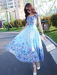 2016 new fairy chiffon floral dress bohemian dress large spot