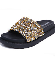 Для женщин Тапочки и Шлепанцы Сандалии Удобная обувь Полиуретан Весна Лето Повседневный Пайетки На плоской подошвеЗолотой Черный