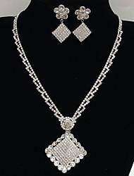 Bijoux 1 Collier 1 Paire de Boucles d'Oreille Nuptiales Parures A Fleurs Pendant Carée Mariage Soirée Occasion spéciale QuotidienAlliage