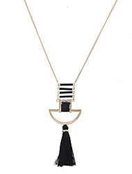 Lureme Unique European Geometric Patina with Black Tassel Necklace for Women and Girls