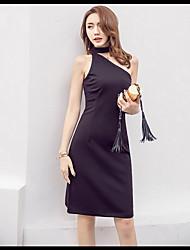 2017 новое летнее платье было тонкие ремни наклонный сексуальный маленький черный коктейльное платье ежегодное собрание света