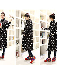 Women's Casual/Daily Chinoiserie Winter Fur Coat,Striped Round Neck Long Sleeve Long Cotton