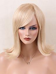 Mi-longueur blonde blonde perruque de cheveux perruque de capuchon sans plomb pour jeune femme résistant à la chaleur 2017