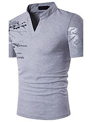 Hombre Simple Chic de Calle Sofisticado Noche Casual/Diario Discoteca Polo,Cuello Camisero Estampado Manga Corta Algodón Poliéster