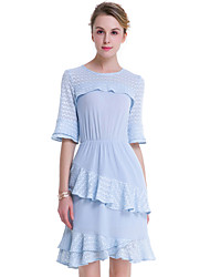 SUOQI Fashion Wild 1/2 Sleeves Round Neck Lotus Leaf Was Thin Blue Dress Party Cocktail Holiday Dating Dresses