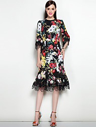 MARY YAN&YU Women's Lace Going out Casual/Daily Sexy Street chic A Line DressFloral Round Neck Midi Knee-length Sleeve Polyester Spandex Spring Summer