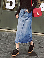 Fruit home spring Korean denim skirt skirts 2017 spring loose waist skirt long section