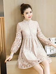Sign dress female 2017 spring new Korean long-sleeved collar lantern openwork crochet lace dress