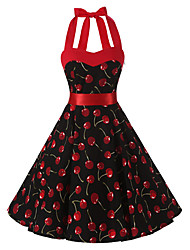 Women's Rockabilly Vintage Swing Dress Black Cherry Floral Halter Knee-length Sleeveless Cotton All Seasons Mid Rise