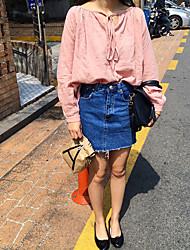 La version coréenne de la nouvelle taille mince était mince jupe bordée jupe collège vent écolière femme jupe denim