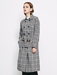 Women's Casual/Daily Simple Spring Trench Coat,Solid Square Neck Long Sleeve Long Cotton