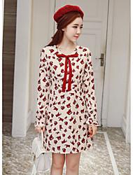знак 2017 весной новый хит цвет печати кружева лук талия была тонкой корейское платье