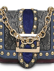 Women Shoulder Bag PU All Seasons Outdoor Navy Blue Amethyst