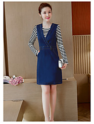 Sign 2017 new Korean version of the two-piece suit long-sleeved dress A word denim strap dress female tide
