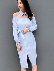 Women's Going out Sheath Dress,Solid Boat Neck Knee-length Long Sleeve Cotton Summer Mid Rise Micro-elastic Thin