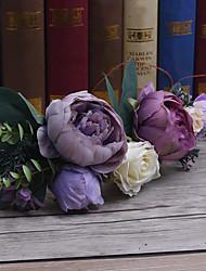 Basketwork льняная ткань головной убор-свадьба специальный случай случайные наружные цветы венки 1 шт.