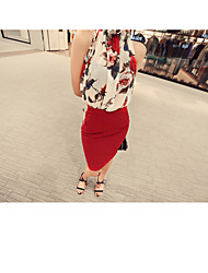 Women's Going out Casual/Daily Simple Summer Shirt,Solid Round Neck Sleeveless Cotton Thick