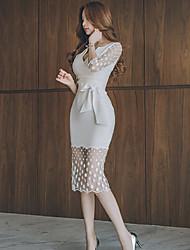 2017 printemps et été nouvelle mode coréenne v-neck lace net fil épissage perspective mince paquet robe hanche femmes
