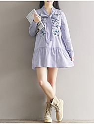 Sign Spring new ribbon bow collar loose large rose embroidery College Wind striped dress