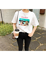 Spot chic Han Guoguan network block characters printed short-sleeved loose woman