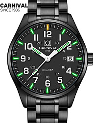 Carnival Male watch waterproof super bright tritium gas blue green luminous Outdoor mens business analg black quartz Watches