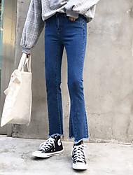 знак 2017 весной и осенью корейские девять микро колонок широких брюк ноги кисточка тонкого стрейч тонкие джинсы женщина