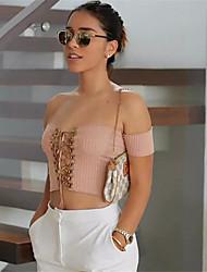 Damen Solide Sexy Ausgehen T-shirt,Bateau Frühling Kurzarm Baumwolle Mittel