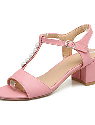 Women's Sandals Spring Summer T-Strap Comfort Leatherette Outdoor Dress Chunky Heel Beading Imitation Pearl Buckle