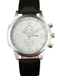YAZOLE Masculino Relógio Elegante Relógio de Moda Relógio de Pulso Relógio Casual Chinês Quartzo PU Banda Legal Casual CriativoPreta