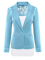 Women's Casual/Daily Work OL Style Simple Street chic Grace Slim Holllow Out Spring Fall JacketSolid Shirt Collar Long Sleeve Regular Patchwork Lace