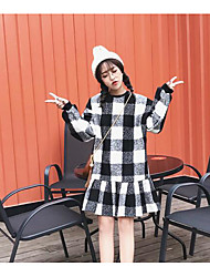 Sign ~ hedging long-sleeved plaid loose long sections woolen dress flouncing