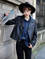 Women's Casual/Daily Sexy Spring Leather Jacket,Solid V Neck Long Sleeve Short Others
