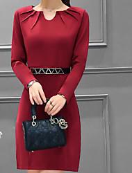 2017 корейской версии новых женщин&# 39, S сплошной цвет длинный отрезок ола темперамент тонкий платье