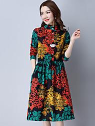 Sinal 2017 primavera novas mulheres coreanas soltas metros grandes cintura feminina grande vestido floral