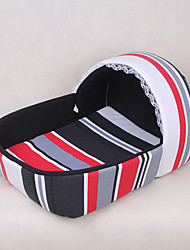Cat Dog Bed Pets Bed Black Strip Fabric