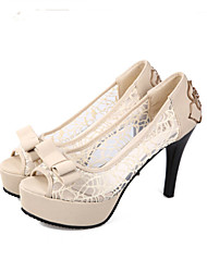 Women's Heels Spring Summer Formal Shoes Tulle Wedding Party & Evening Dress Stiletto Heel Bowknot Flower Walking Shoes