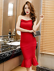 Sign new spring and summer retro flounced Bra fishtail skirt sexy thin Slim package hip dress