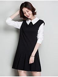 Women's Casual/Daily Cute Skater Dress,Color Block Shirt Collar Above Knee Long Sleeve Polyester Spring Fall High Rise Micro-elastic