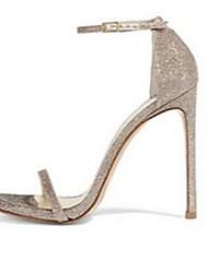 Damen-Sandalen-Lässig-PU-Stöckelabsatz-Fersenriemen-Silber