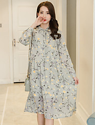 2017 spring models retro loose long-sleeved chiffon dress and long sections Slim temperament floral summer dress bottoming