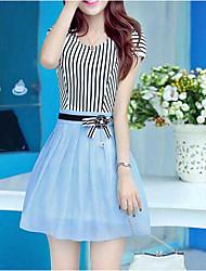 Versão coreana do pescoço fino em torno do pescoço de manga curta listrada chiffon vestido de organza vestido de mulher