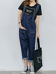 Excellent customer really making 2017 spring new college wind loose denim overalls female