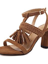 Da donna-Sandali-Formale-Club Shoes-Quadrato-Felpato-Nero Marrone