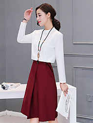 Sign the new two-piece long-sleeved dress waist high waist A word skirt solid wild Korean hit color