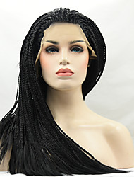 Heat Resistant Braided Synthetic Lace Front Wigs Black Color Synthetic Synthetic Braided Fiber Hair Wigs